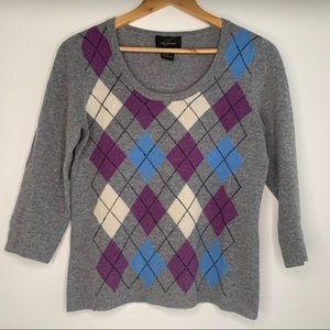 Pure Cashmere Argyle Scoop Neck 3/4 Sleeve Sweater